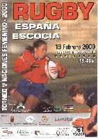 Poster del partido femenino de las cinco naciones jugado en Murcia en el año 2000 entre España-Escocia, con victoria española.