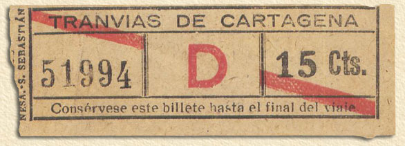Billete del tranvía de Cartagena