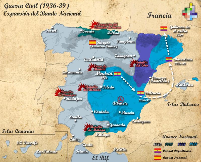 Mapa Bandos Guerra Civil Española.Mapa De La Guerra Civil Entre 1936 Y 39 Region De Murcia