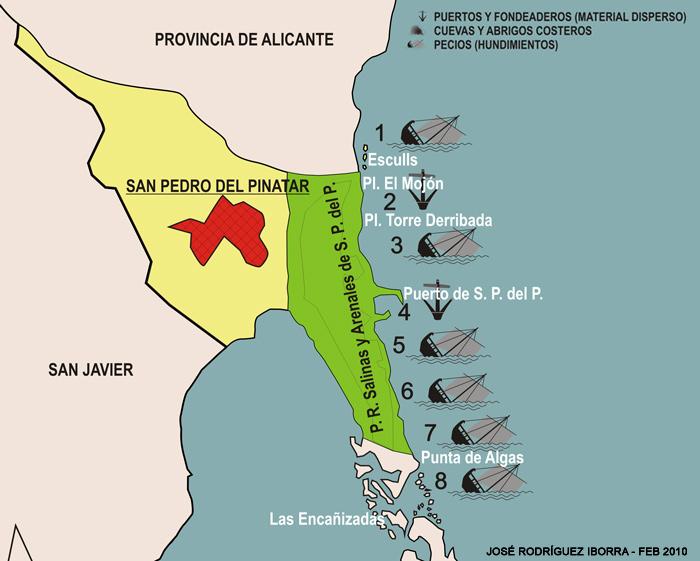 Mapa de yacimientos subacuáticos de San Pedro del Pinatar