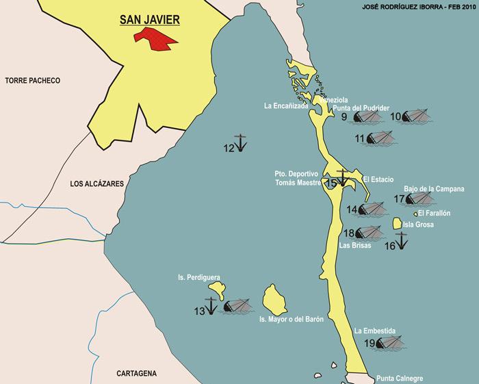 Mapa de yacimientos subacuáticos de San Javier