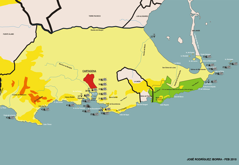 Mapa de yacimientos subacuáticos de Cartagena