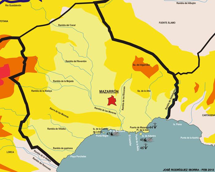 Mapa de yacimientos subacuáticos de Mazarrón