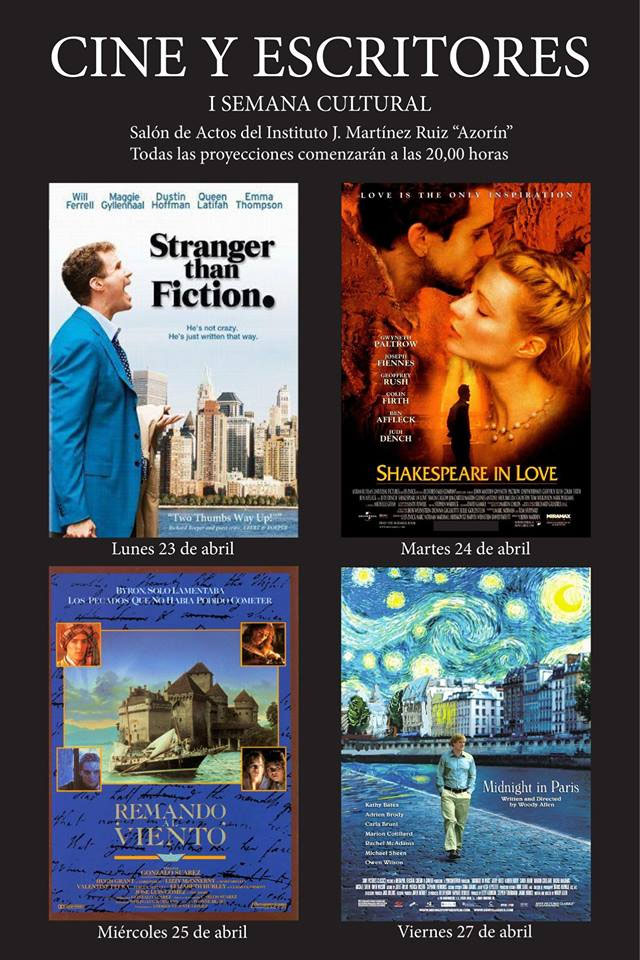 Cine y Escritores. I Semana Cultural: Stranger than fiction