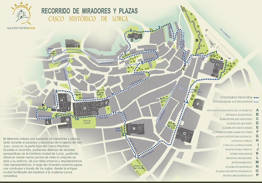 Mapa. Ruta Miradores y Plazas de Lorca