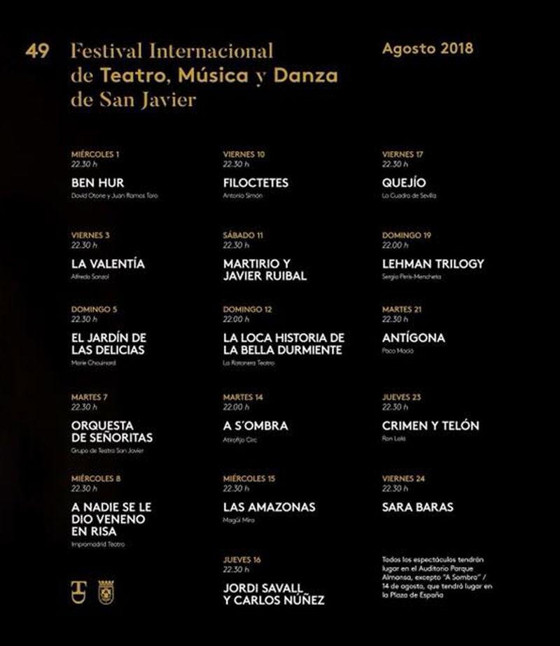 49 Festival Internacional de Teatro, Música y Danza de San Javier 2018