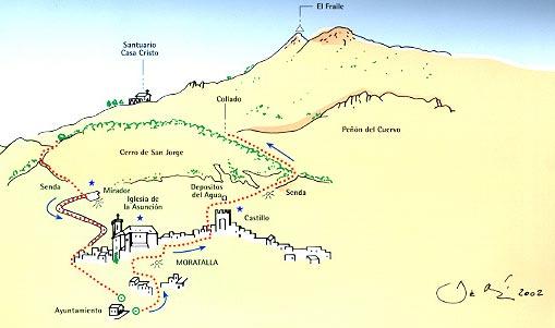Mapa de la Ruta urbana y vuelta al Cerro de San Jorge