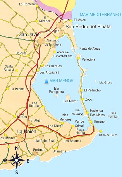 Mar Menor Mapa Fisico.Mar Menor Mapa Politico Region De Murcia Digital