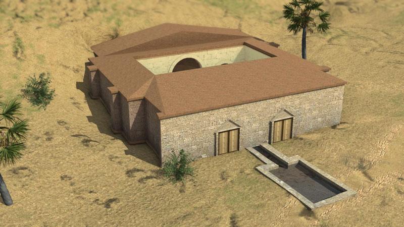 Baños Romanos Fortuna:Época Romana Santuario Romano – Configuración Arquitectónica